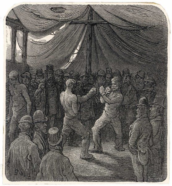 Two fighters slug it out in the gloomy interior of a tent, watched by a small crowd of Londoners who have probably bet on the outcome