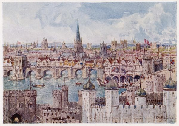 Old london bridge in 1386