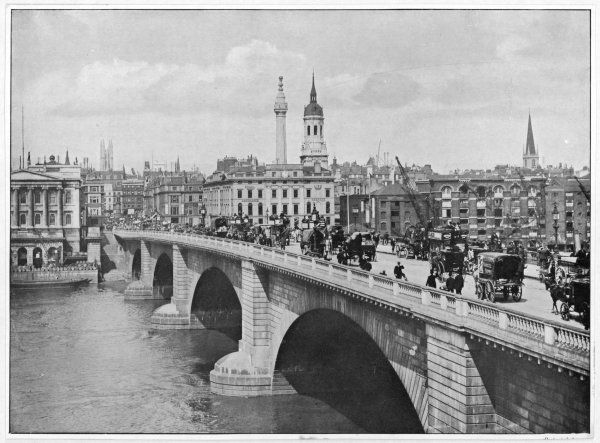 Horse buses, carts and pedestrians crossing the bridge: looking northeast, the Monument in middle distance Date: 1895