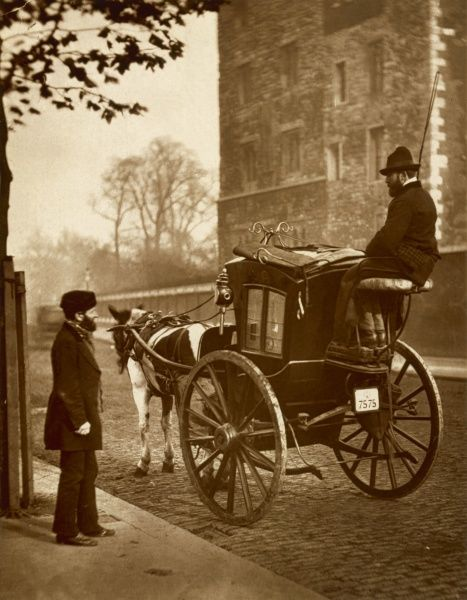 London cabmen with their horse-drawn cab