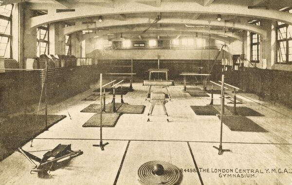 The London Central YMCA Gymnasium with a wide variety of athletic training and gymnastic apparatus