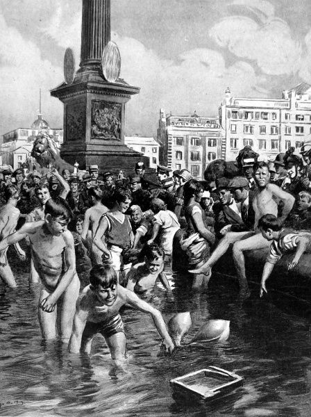 Illustration showing London children bathing in the Trafalgar Square fountains during the summer of 1919