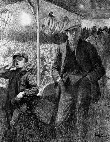 Illustration showing a London costermonger and his 'boy' at their market 'Fruit and Veg' stall, 1910. This image was produced by Frank Reynolds as part of a series entitled: 'Peculiarly British Types'. Date: 1910