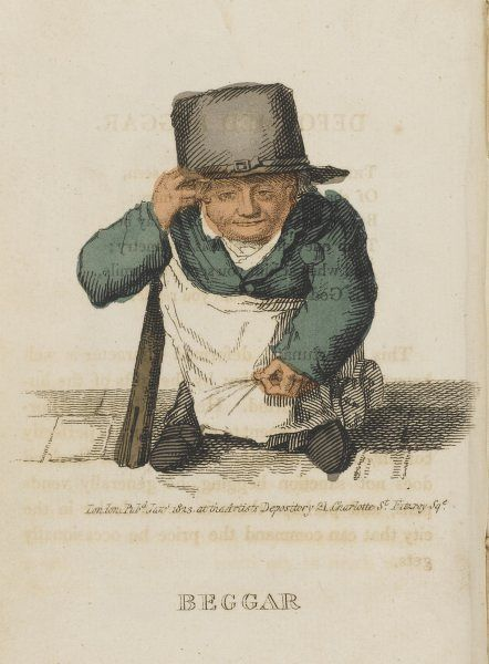 The beggar with one leg, on a crutch, holds out his hat for money