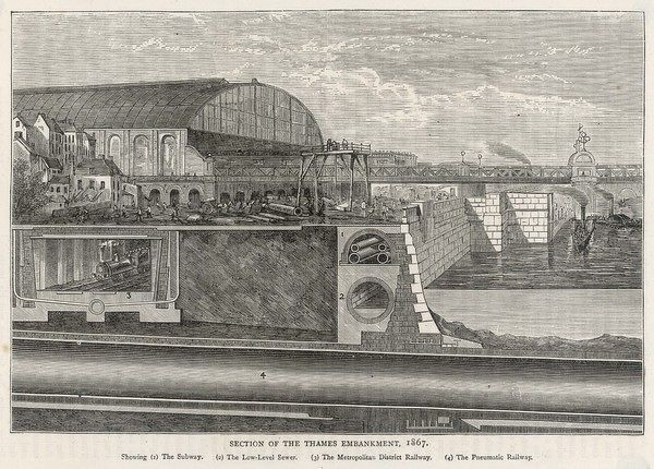A section of the Thames Embankment, showing the Subway, the Pneumatic Railway, the Metropolitan and District Railway and the Low-Level Sewer
