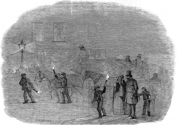 Engraving showing a street scene in London, on a particularly foggy day, 1847. This image shows several people carrying burning torches to try to find their way through the gloom. Date: 2 January 1847