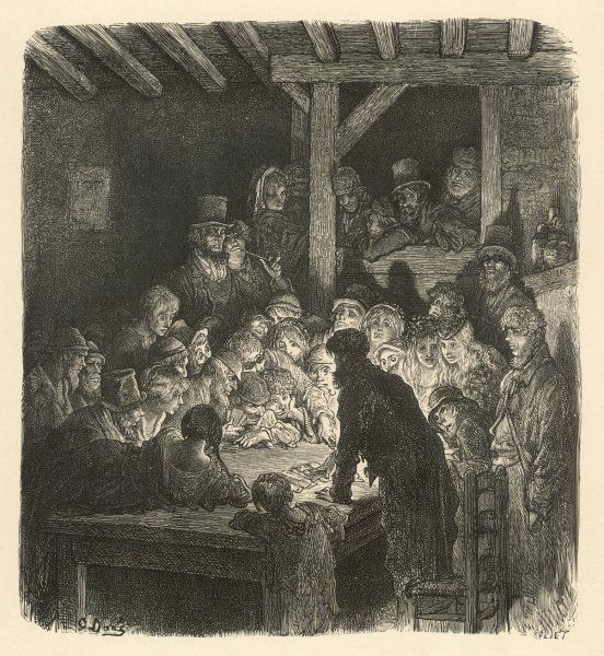 Men and women of dubious character watch a card game in a dimly lit interior