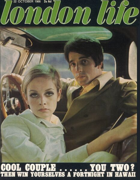 Front cover of London Life magazine, the short-lived magazine which documented and encapsulated swinging sixties London, featuring Twiggy photographed with Justin de Villeneuve, her companion and manager from 1966 to 1973