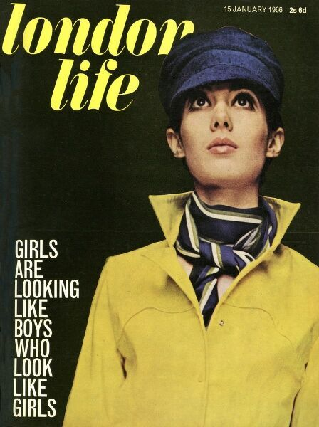 Front cover of London Life magazine, the cool but short-lived magazine which epitomised the spirit of swinging sixties London, featuring a model dressed in a masculine bright yellow shirt with a Dutch style cap and artfully knotted scarf
