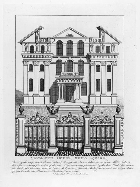 Soho Square : the duke of Monmouth's imposing town house which endured several changes of fortune before being demolished in 1773
