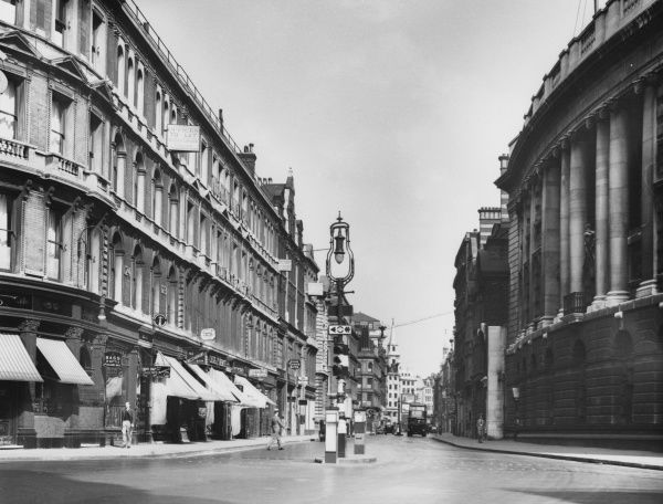 A fine view of Newgate Street and the Old Bailey, City of London, on a summer's day, only one month before the outbreak of World War Two. Date: August 1939