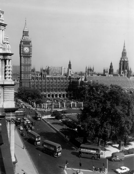 A fine overview of Parliament Square and Big Ben, Westminster, central London. Date: late 1960s