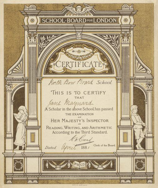 A London School Board Certificate for Reading, Writing and Arithmetic according to the third standard