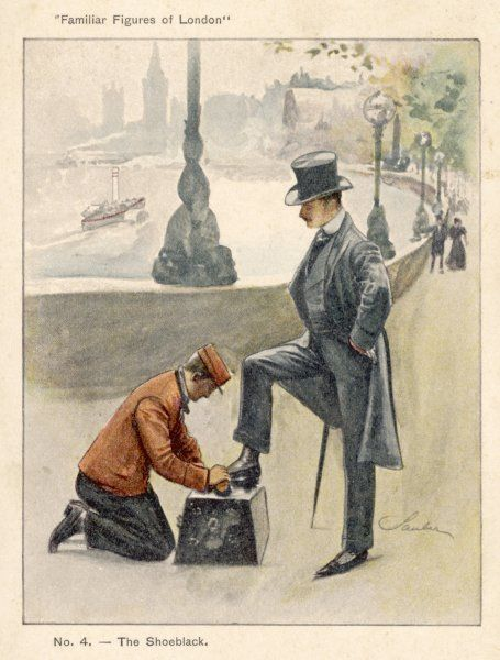 A well-dressed gentleman stops to have his shoes polished while strolling along the Embankment
