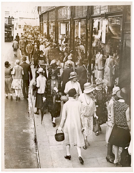 Shoppers on the crowded streets of central London