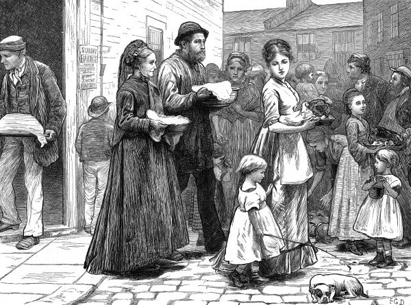 Bustling London street scene showing people fetching their Sunday dinners and roasts from a 'Smith's Bakery&#39