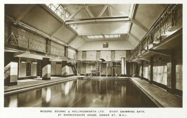 The Staff Swimming Bath at Messrs. Bourne & Hollingsworth Ltd. Department Store - Warwickshire House, Gower Street, London, England Date: circa 1930s