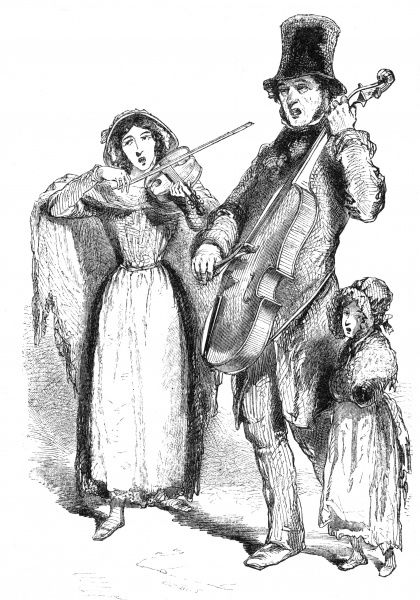 A musical trio ply their trade on the streets of London. Date: 1848