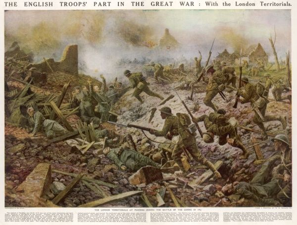 The London Territorials charge a German trench at Pozieres during the Battle of the Somme in 1916