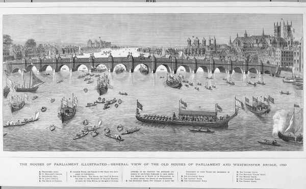 The Thames, showing Westminster Abbey, the Houses of Parliament, Lambeth Palace, and several barges on the river