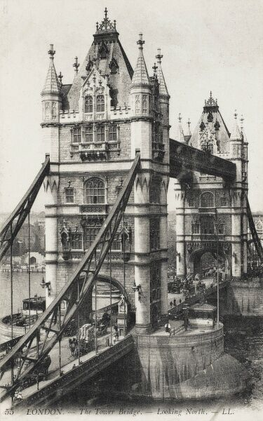 London - Tower Bridge, looking north. The bridge was officially opened on 30 June 1894 (after eight years of construction) by The Prince of Wales (the future King Edward VII)