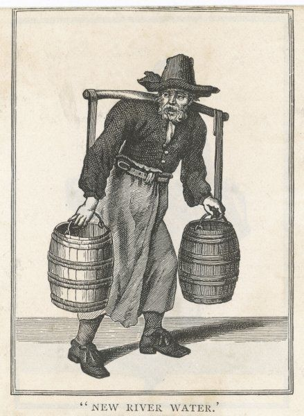 A London water carrier with two barrels hung on a frame resting across his shoulders -- 'The New River Water&#39