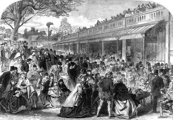 Engraving showing the crowd of visitors at the Zoological Society's Gardens (London Zoo) in Regent's Park, 1866