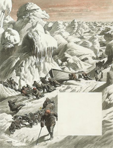 Illustration by Raymond Sheppard to an article entitled: 'The Long, Long Drift' by John Prebble, relating to the The Imperial Trans-Antarctic Expedition of 1914-17, also known as the Endurance Expedition