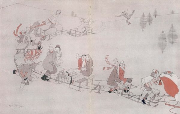Humorous illustration by Joyce Dennys showing a long trail of sledges populated by all types of personalities enjoying winter sports in St. Moritz