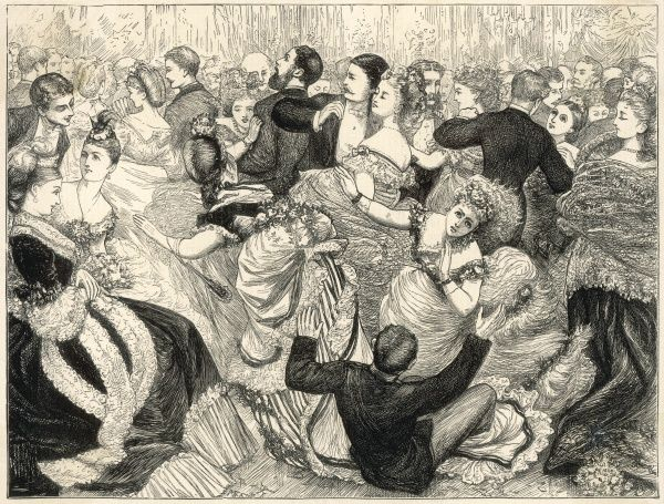 Perils of trained skirts in crowded ballrooms when your partner has two left feet! A man steps on the long skirts of two women simultaneously & lands on the floor