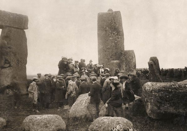 People gathering at Stonehenge, Wiltshire on the longest day of the year, on or near 21 June 1912