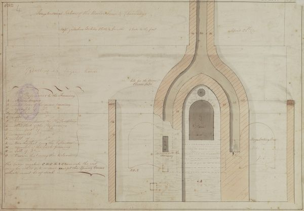 Longitudinal section of the boiler houses and chimneys Date: 1795