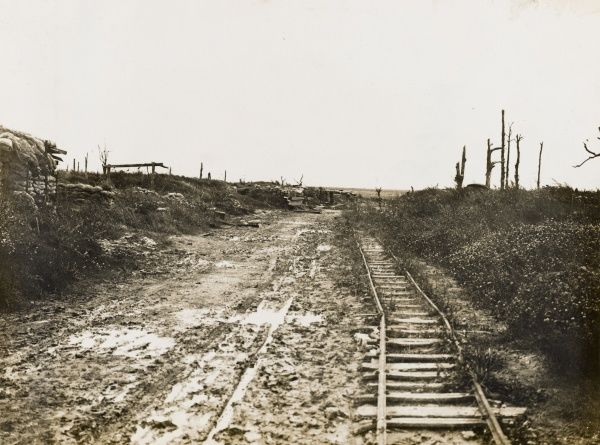 Deserted road and rail line at Longueval on the Western Front in France on the British front during World War I in Autumn 1917