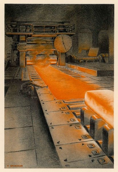 The plate mill at Longwy Steelworks in Frnace