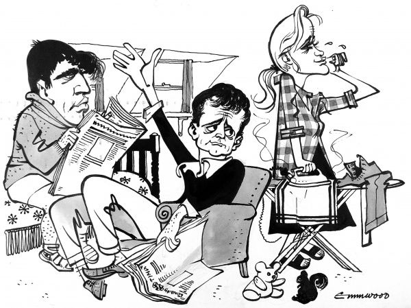 Cartoon showing (left to right) Sir Alan Bates (1934-2003) as 'Cliff Lewis', Kenneth Haigh (b.1931) as 'Jimmy Porter' and Mary Ure (1933-1975) as 'Alison Porter' in John Osborne's 'Look Back in Anger', c.1956