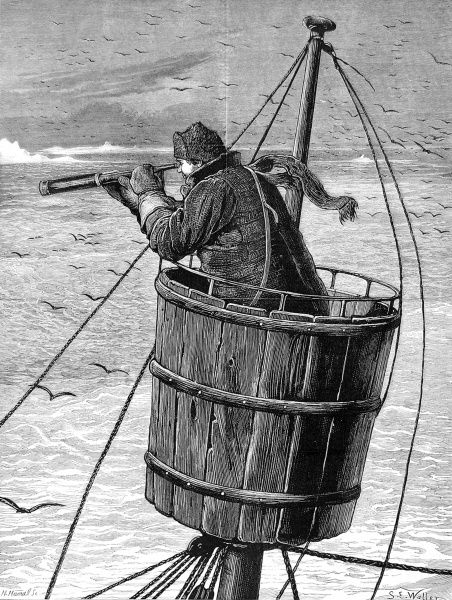 Engraving showing the Look-out or 'Crow's Nest' at the top of the mainmast of one of the ships of the British Arctic Expedition, 1875-1876. In the summer of 1875 the British Admiralty sent Captain George Nares with two ships, HMS 'Alert&#39