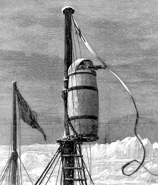 Engraving showing the Look-out or 'Crow's Nest' at the top of the main-mast of HMS 'Alert' during the British Arctic Expedition of 1875-1876. In the summer of 1875 the British Admiralty sent Captain George Nares with two ships