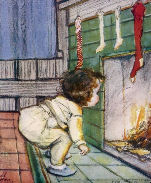 A little child peers up the chimney, wondering how Father Christmas is going to make his descent and fill the expectantly hung stockings while the fire is lit