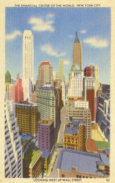 'The Financial center of the World'! Looking West up Wall Street, New York City, USA. Date: circa 1930s
