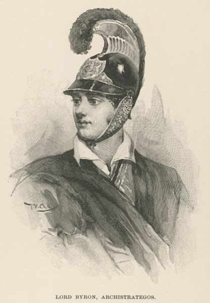 George Gordon Byron, 6th Baron Byron (1788-1824) in the uniform of a Greek patriot, including a cavalry helmet which he designed himself, based on descriptions of armour in Homer's Iliad
