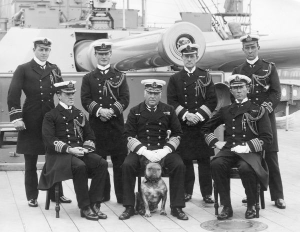 Lord Charles Beresford (1846 - 1919) (centre), British Admiral and MP. He was known to the British public as Charlie B, and considered by many to be the personification of John Bull; he was often seen with his bulldog, as here. David Beatty