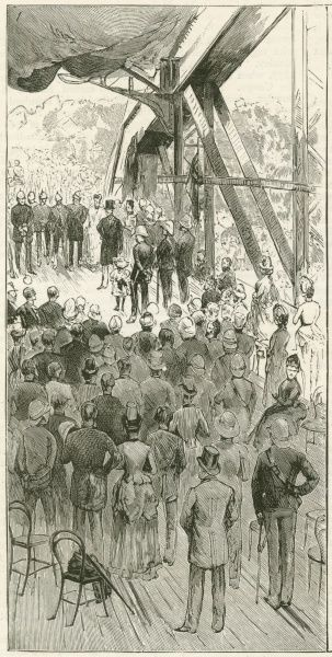 Lord Dufferin(1826-1902), diplomat and eighth Viceroy of India, declaring the Jubilee Bridge of the East Indian Peninsular Railway open. The bridge crosses the river Hooghly, at Hooghly, India