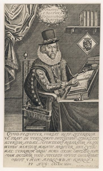 LORD FRANCIS BACON Viscount St Albans English philosopher and author and statesman writing at desk