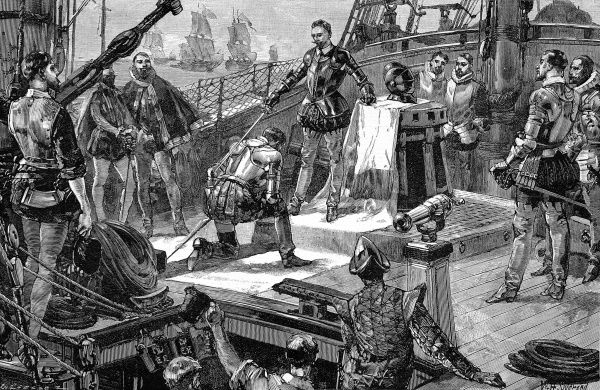 Engraving of Lord Howard of Effingham, Admiral of the English Fleet, knighting some of his captains for their distinguished action in attacking the Spanish Armada