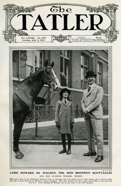 Lord Howard de Walden (1880-1946) pictured with his eldest daughter The Hon. Bonwen Scott-Ellis and her Olympia Children's Hunter Class winning horse, Winnie. Date: 1923