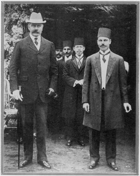Lord Horatio Kitchener of Khartoum (1850 - 1916), British military leader and statesman, pictured with his Excellency Mohamed Mahmoud Seliman Bey, the governor of the Suez Canal and president of the Port Said municipality