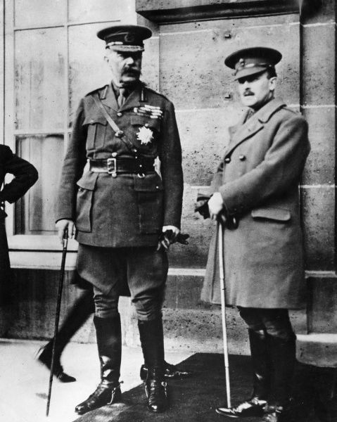 Lord Herbert Kitchener (1850-1916) (left) leaving a conference in Paris at the start of the First World War. Date: circa September 1914