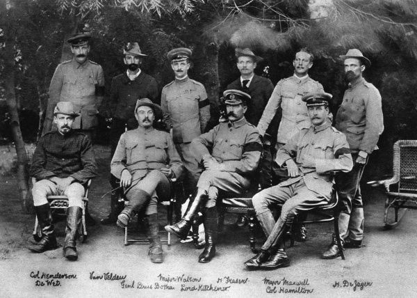 Lord Kitchener (1850-1916) seated at the peace conference that brought the Boer War of 1899-1902 to an end. Kitchener became Commander-in-Chief of the British war effort in South Africa from 1900. Also among those present is General Louis Botha