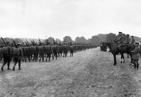Lord Herbert Kitchener (1850-1916) reviewing new recruits of the 10th Division at Basingstoke during the First World War. Kitchener was so greatly involved in the drive for volunteers at the beginning of the war that they became known as the Kitchener Armies