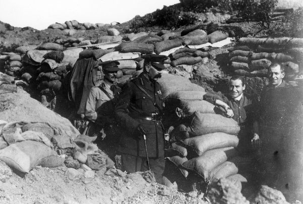 Lord Herbert Kitchener (1850-1916) in a trench with others in the Dardanelles during the Gallipoli Campaign, First World War. Date: circa November 1915